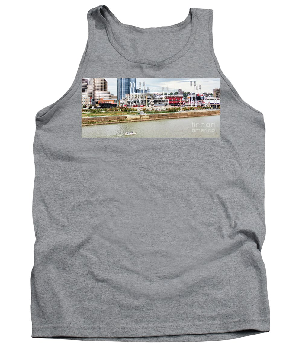 Cincinnati Riverfront Tank Top featuring the photograph Cincinnati Riverfront 9870 by Jack Schultz