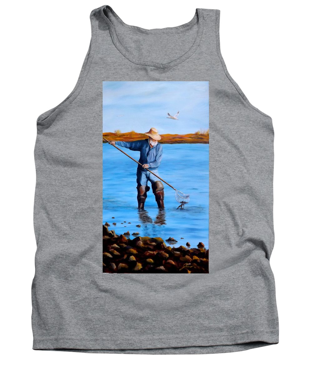 Coastal Tank Top featuring the painting Clam Digger by Gino Didio