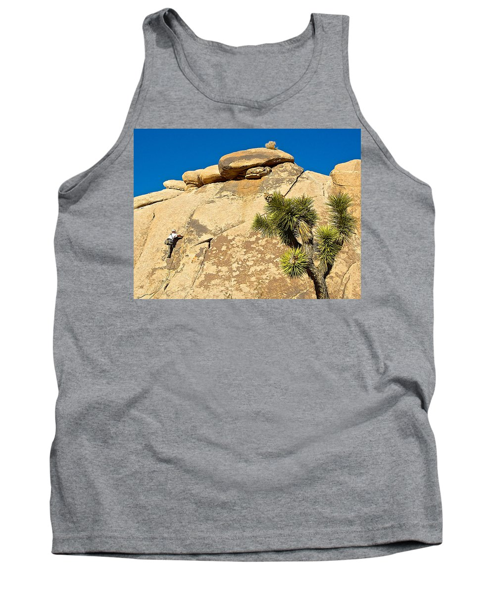 Climber At Quail Springs In Joshua Tree Np Tank Top featuring the photograph Climber At Quail Springs In Joshua Tree Np-ca by Ruth Hager
