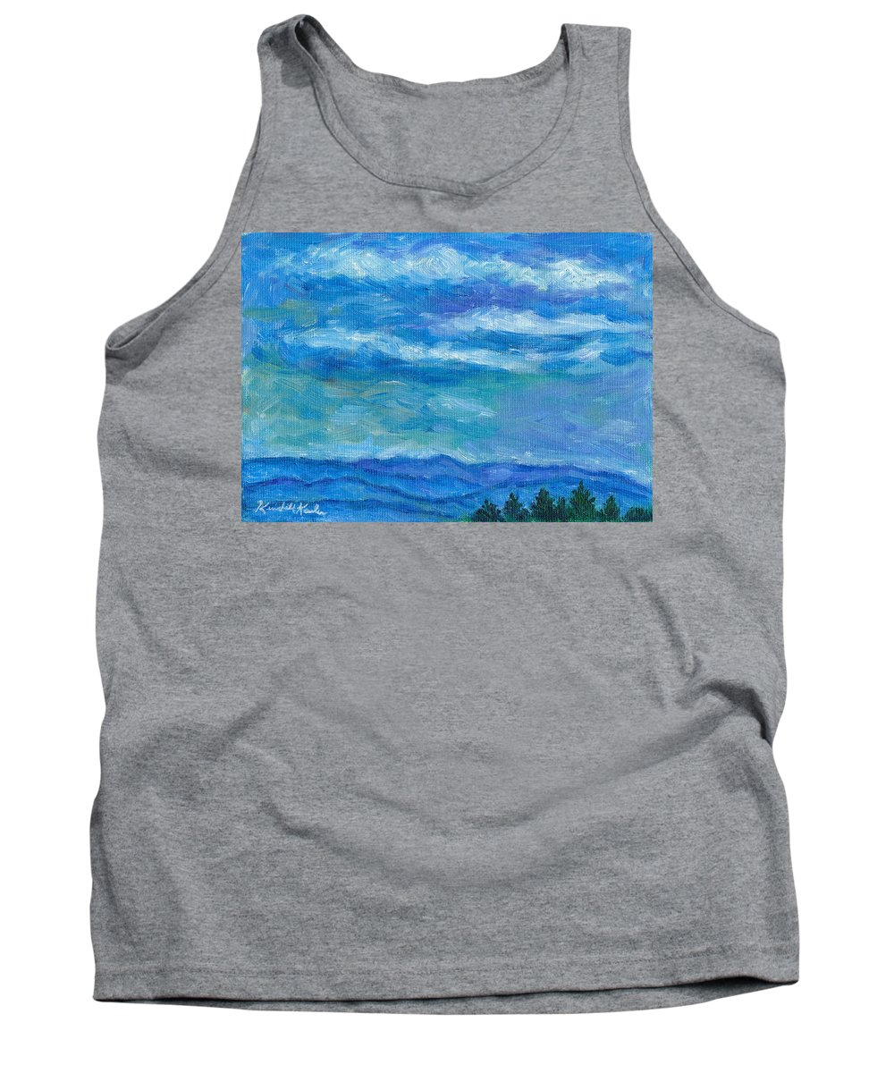 Landscape Tank Top featuring the painting Clouds Over The Blue Ridge by Kendall Kessler
