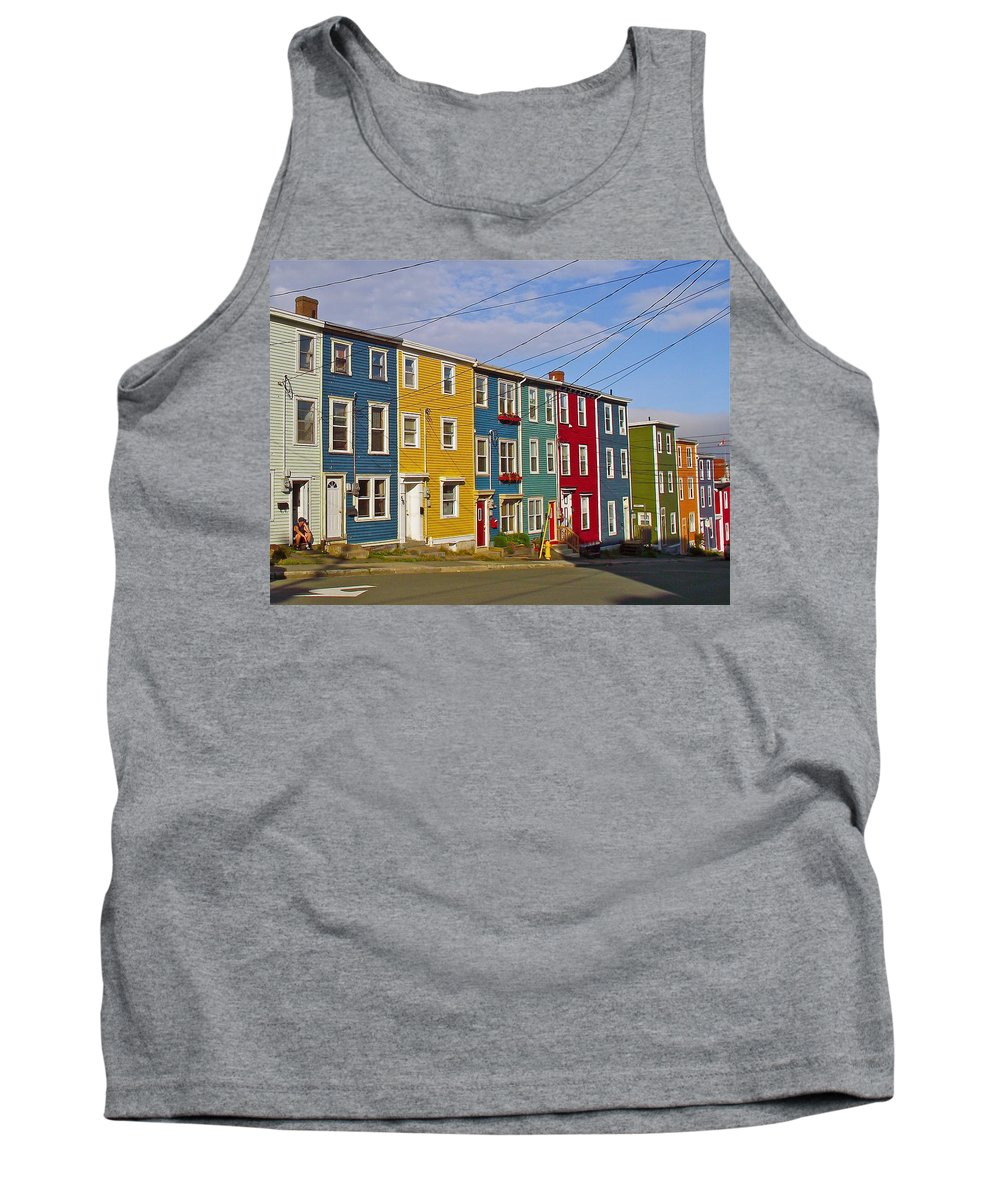 Colorful Apartment Buildings In Saint John's Tank Top featuring the photograph Colorful Apartment Buildings In Saint John's-nl by Ruth Hager