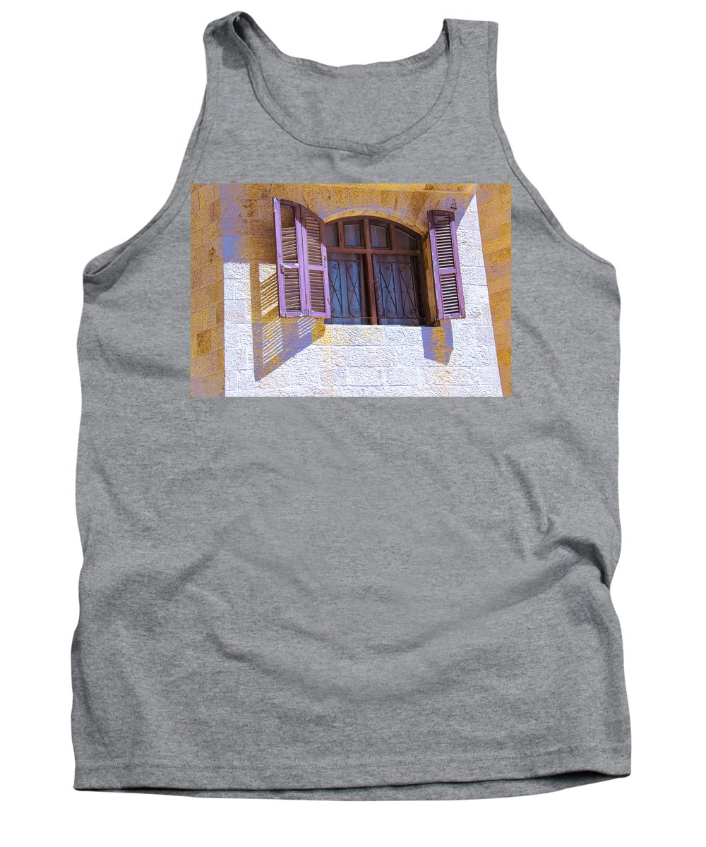 Architectural Detail Tank Top featuring the photograph Colorful Window Shutters by Ben and Raisa Gertsberg