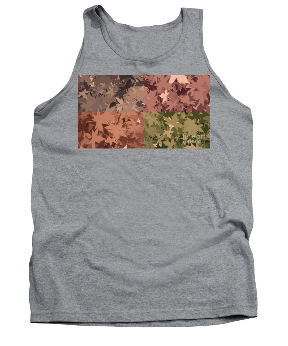 Leaves Tank Top featuring the digital art Colors Of Fall Leaves Abstract by Minding My Visions by Adri and Ray