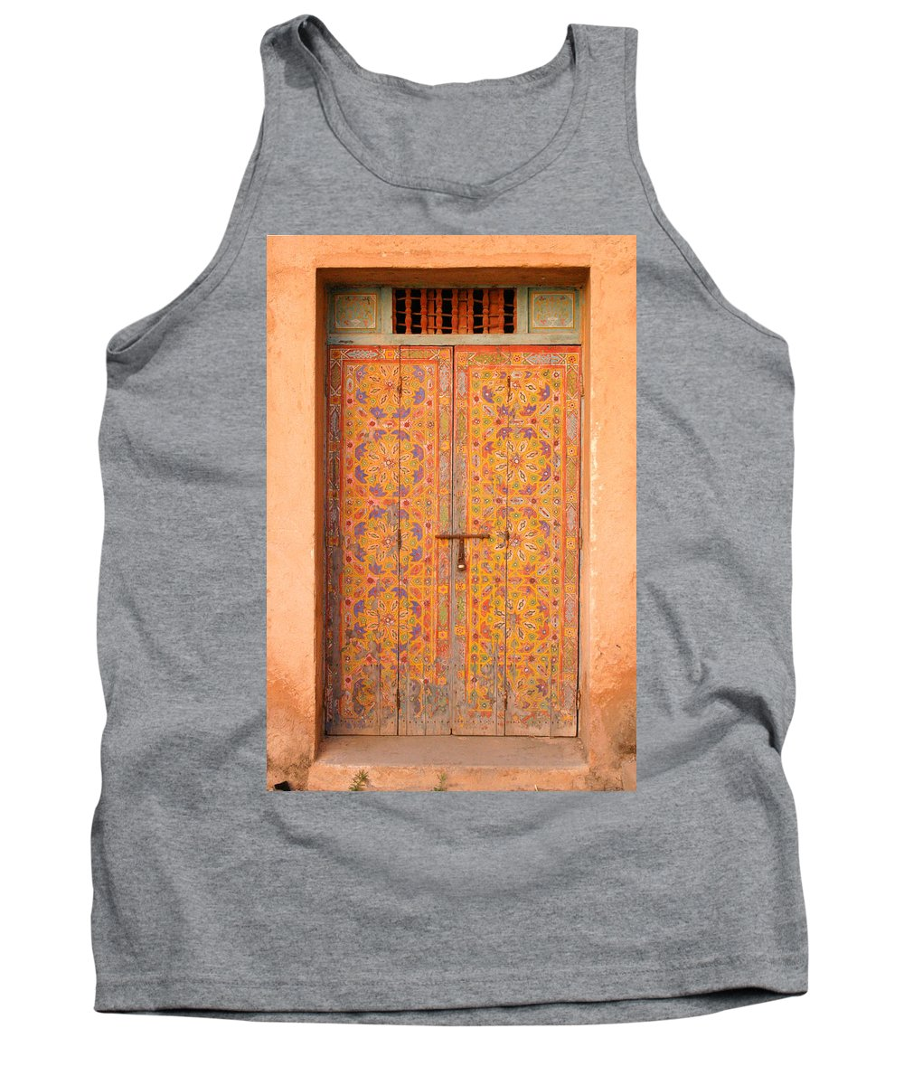 Door Tank Top featuring the photograph Colourful Entrance Door Sale Rabat Morocco by Ralph A Ledergerber-Photography