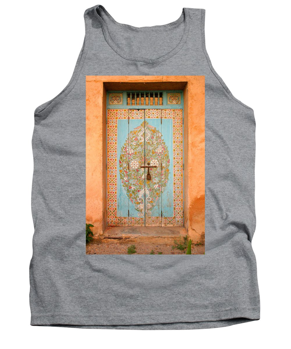 Door Tank Top featuring the photograph Colourful Moroccan Entrance Door Sale Rabat Morocco by Ralph A Ledergerber-Photography