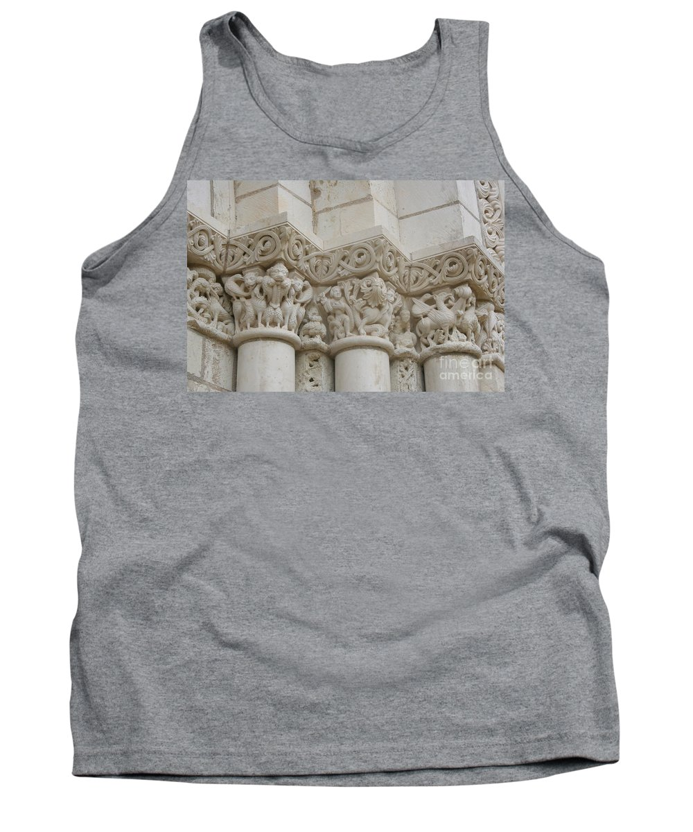 Frieze Tank Top featuring the photograph Column Relief Abbey Fontevraud by Christiane Schulze Art And Photography