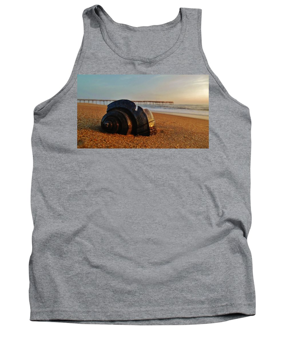 Mark Lemmon Cape Hatteras Nc The Outer Banks Photographer Subjects From Sunrise Tank Top featuring the photograph Conch Shell And Pier 6 12/5 by Mark Lemmon