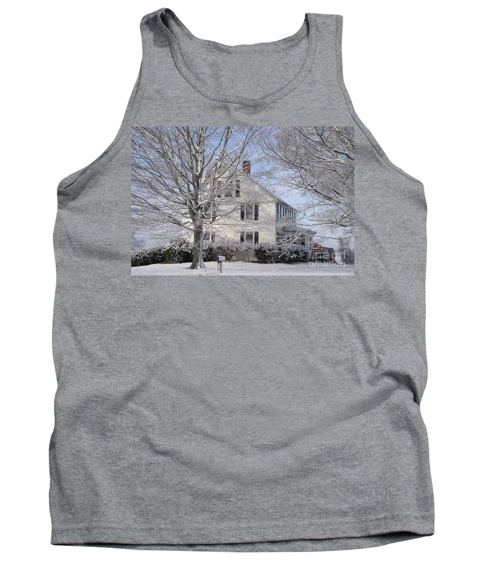 Connecticut Farmhouse Tank Top featuring the photograph Connecticut Winter by Michelle Welles