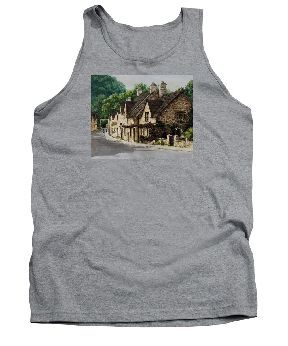 Architecture Tank Top featuring the painting Cotswold Street by Mary Palmer
