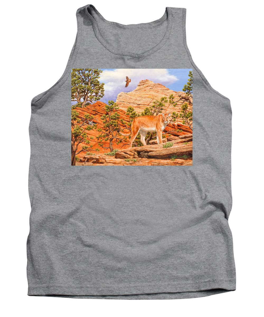 Cougar Tank Top featuring the painting Cougar - Don't Move by Crista Forest