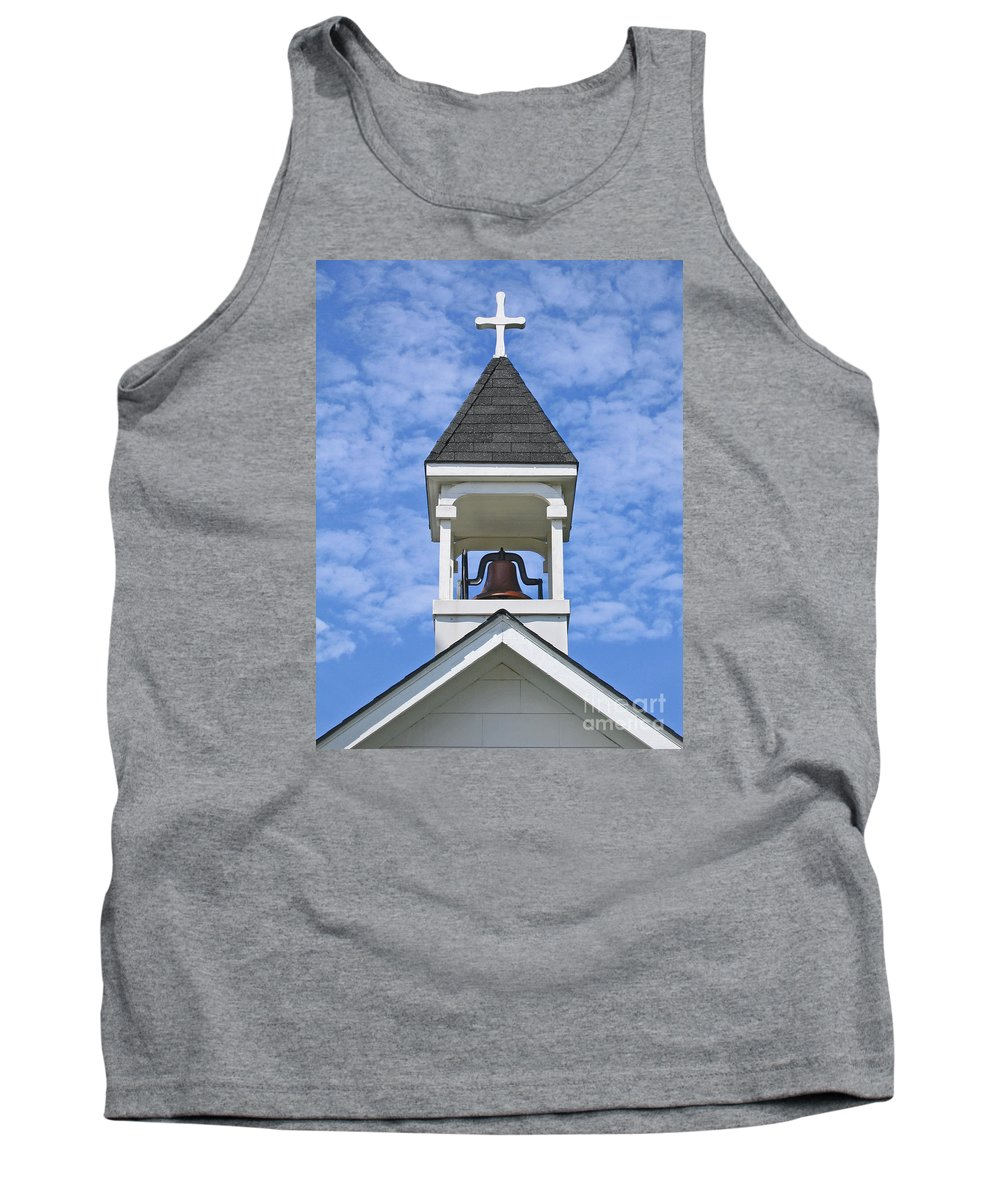 Cross Tank Top featuring the photograph Country Church Bell by Ann Horn