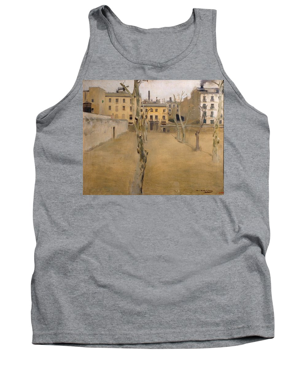 Ramon Casas Tank Top featuring the painting Courtyard Of The Old Barcelona Prison. Courtyard Of The Lambs by Ramon Casas