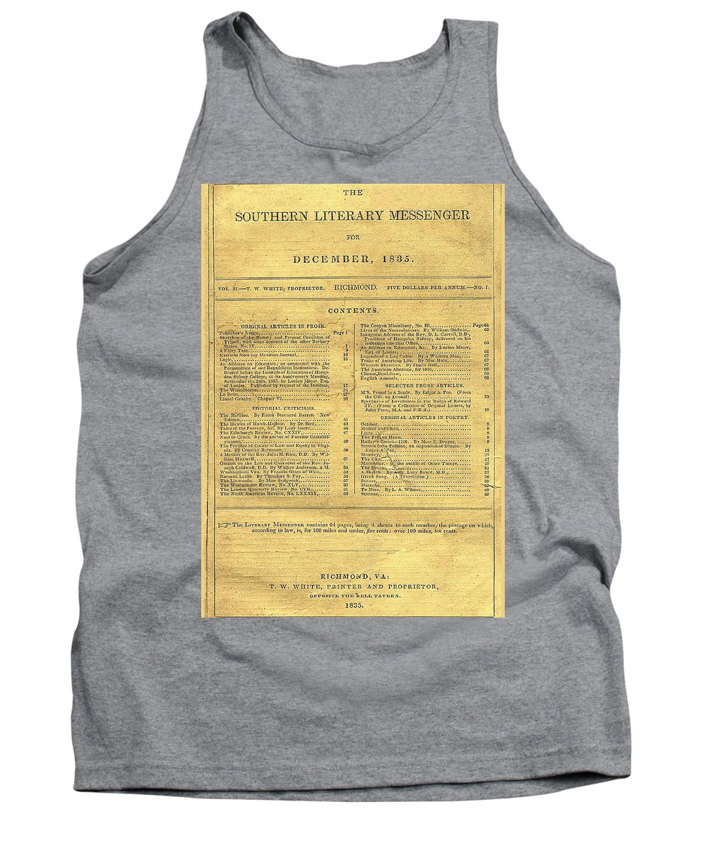 Edgar Tank Top featuring the digital art Cover Of The Southern Messenger by Philip Ralley