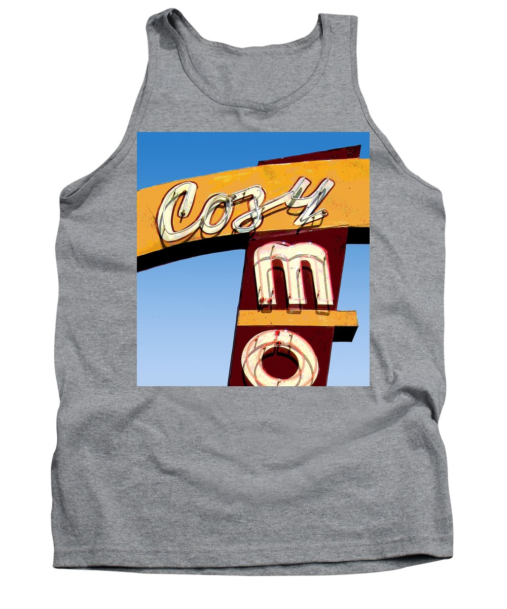 Mid Century Tank Top featuring the photograph Cozy Mo - Blue by Larry Hunter