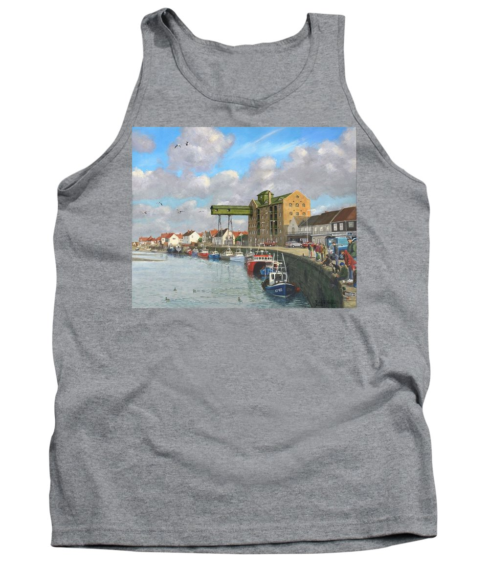Landscape Tank Top featuring the painting Crabbing - Wells-next-the-sea Norfolk by Richard Harpum