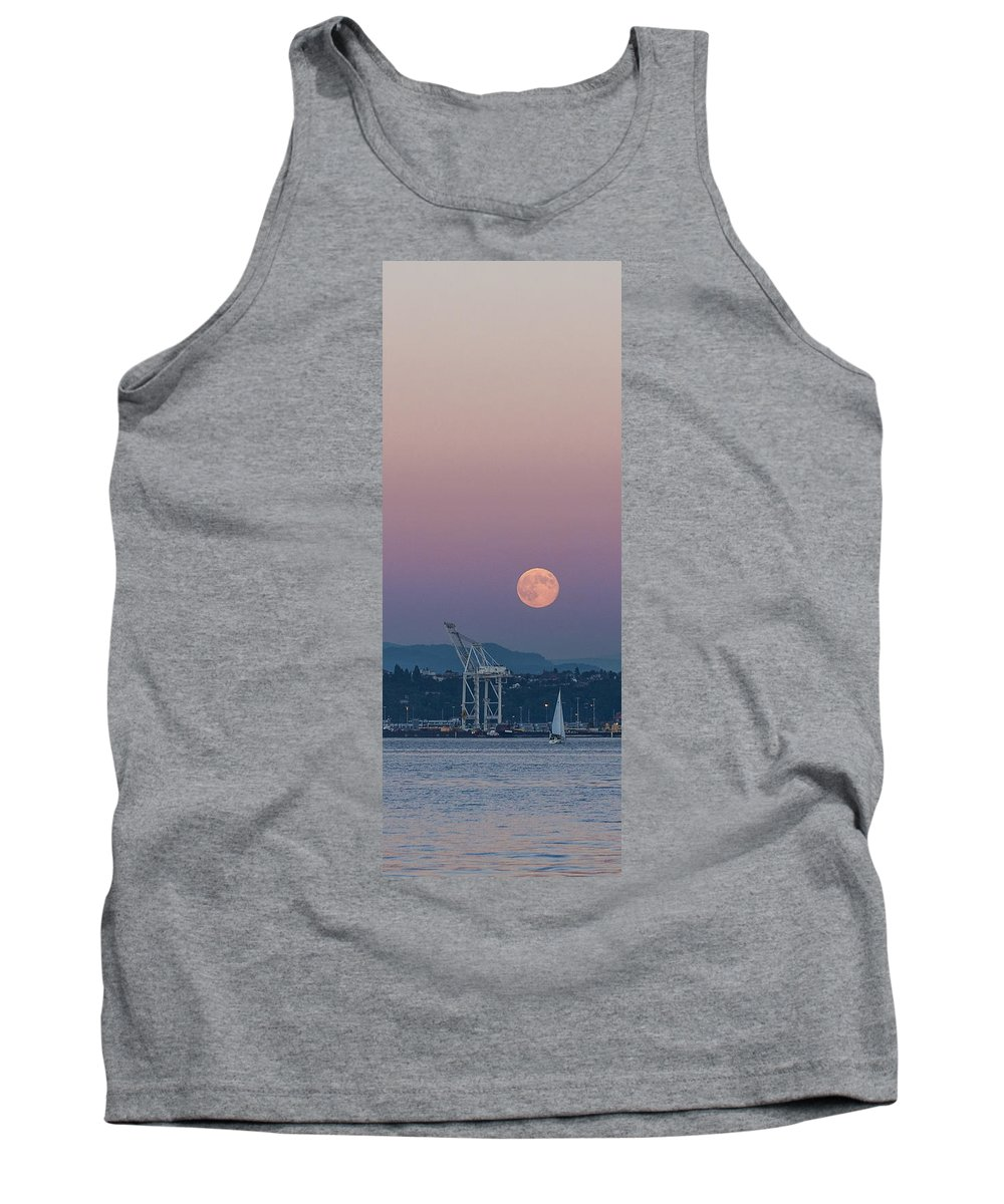 Full Moon Tank Top featuring the photograph Crane Moon Sail by Scott Campbell