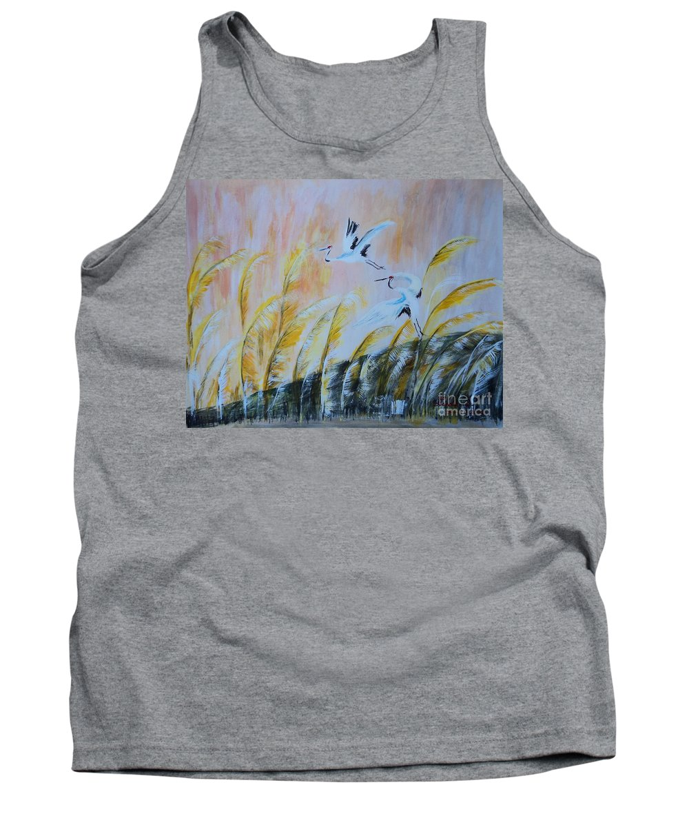 Crane Tank Top featuring the painting Crane On Reed Marshes by Linda Lin