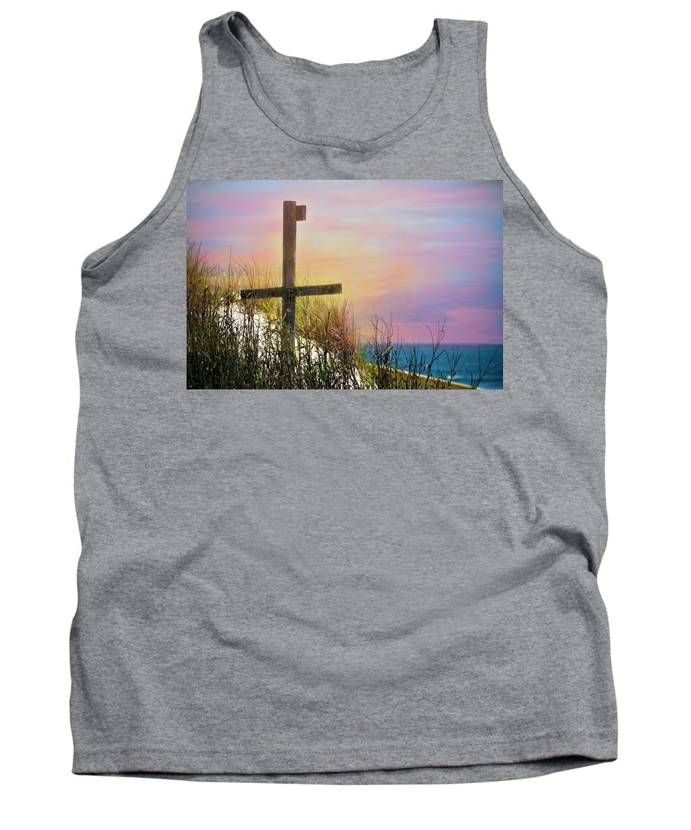 Cross Tank Top featuring the photograph Cross At Sunset Beach by Sandi OReilly