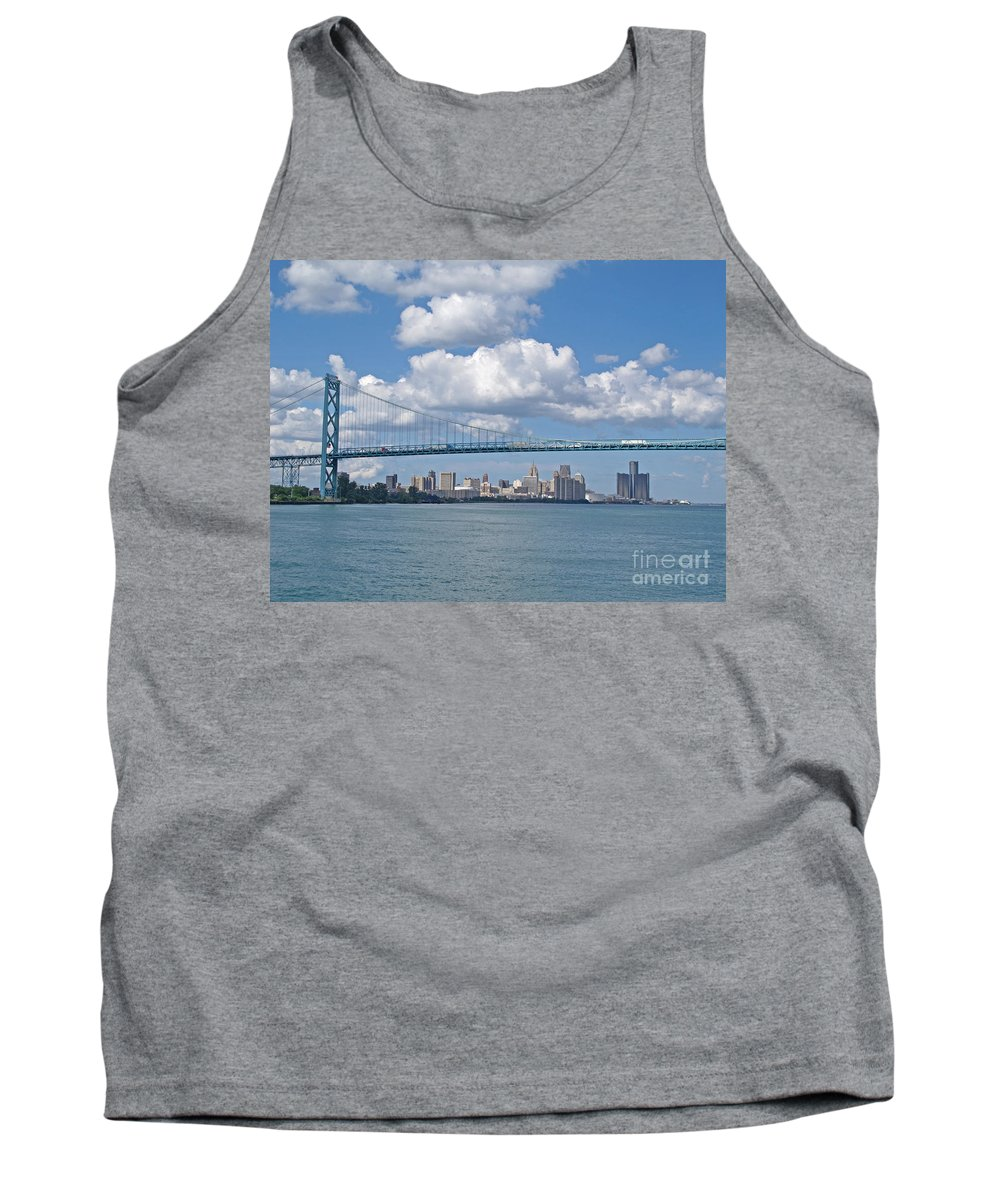 Bridge Tank Top featuring the photograph Crossing The Detroit River by Ann Horn
