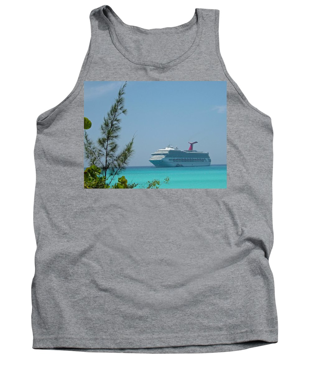 Carnival Tank Top featuring the photograph Cruise Ship At Half Moon Caye by Gary Wonning