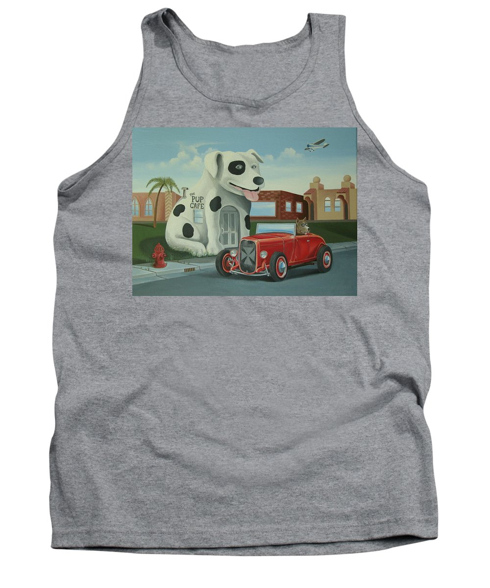 Hotrod Tank Top featuring the painting Cruisin' At The Pup Cafe by Stuart Swartz