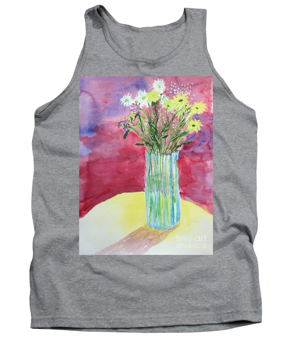 Watercolor Tank Top featuring the painting Daisy Bouquet by Walt Brodis