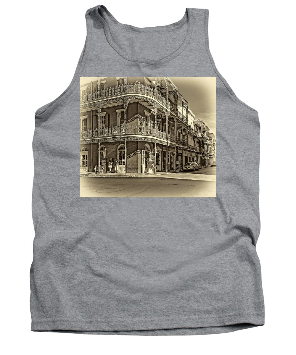 French Quarter Tank Top featuring the photograph Dashing In Red - Sepia by Steve Harrington