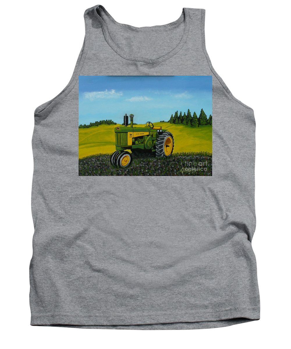John Deere Tank Top featuring the painting Dear John by Anthony Dunphy