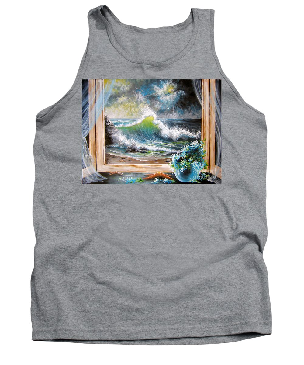 Ocean Tank Top featuring the painting Deep In The Dark Of Day by Patrice Torrillo