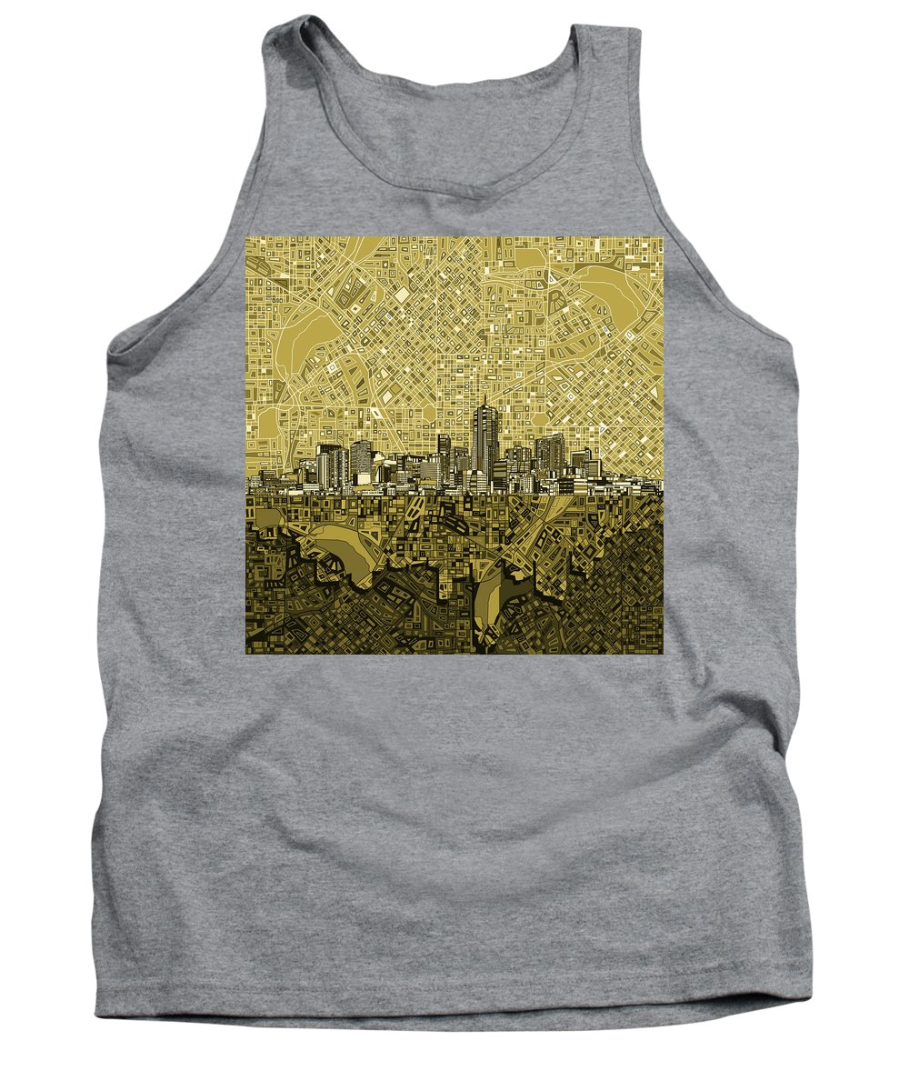 Denver Skyline Tank Top featuring the painting Denver Skyline Abstract 8 by Bekim Art