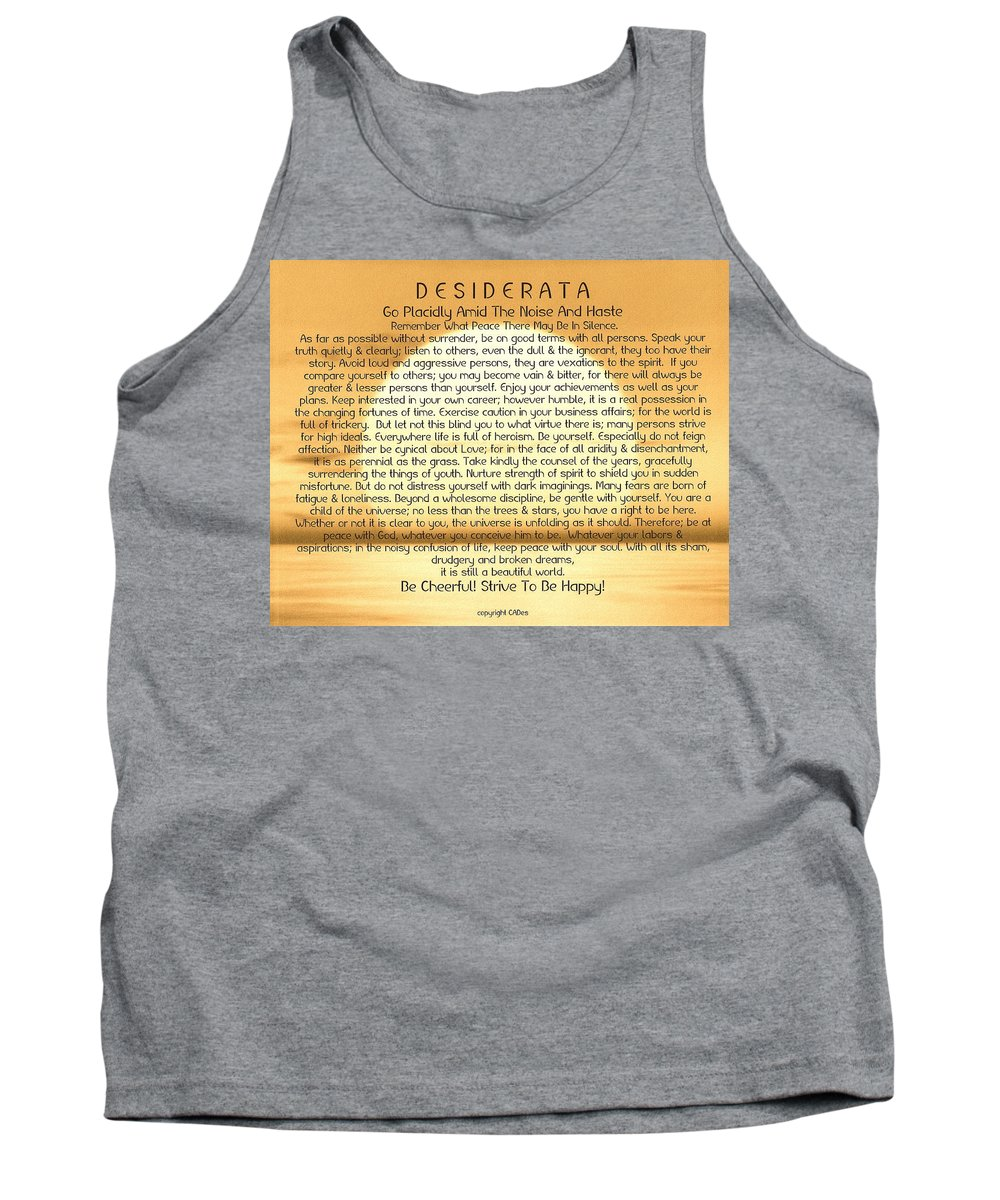 Desiderata Tank Top featuring the painting Desiderata Poem On Golden Sunset by Desiderata Gallery