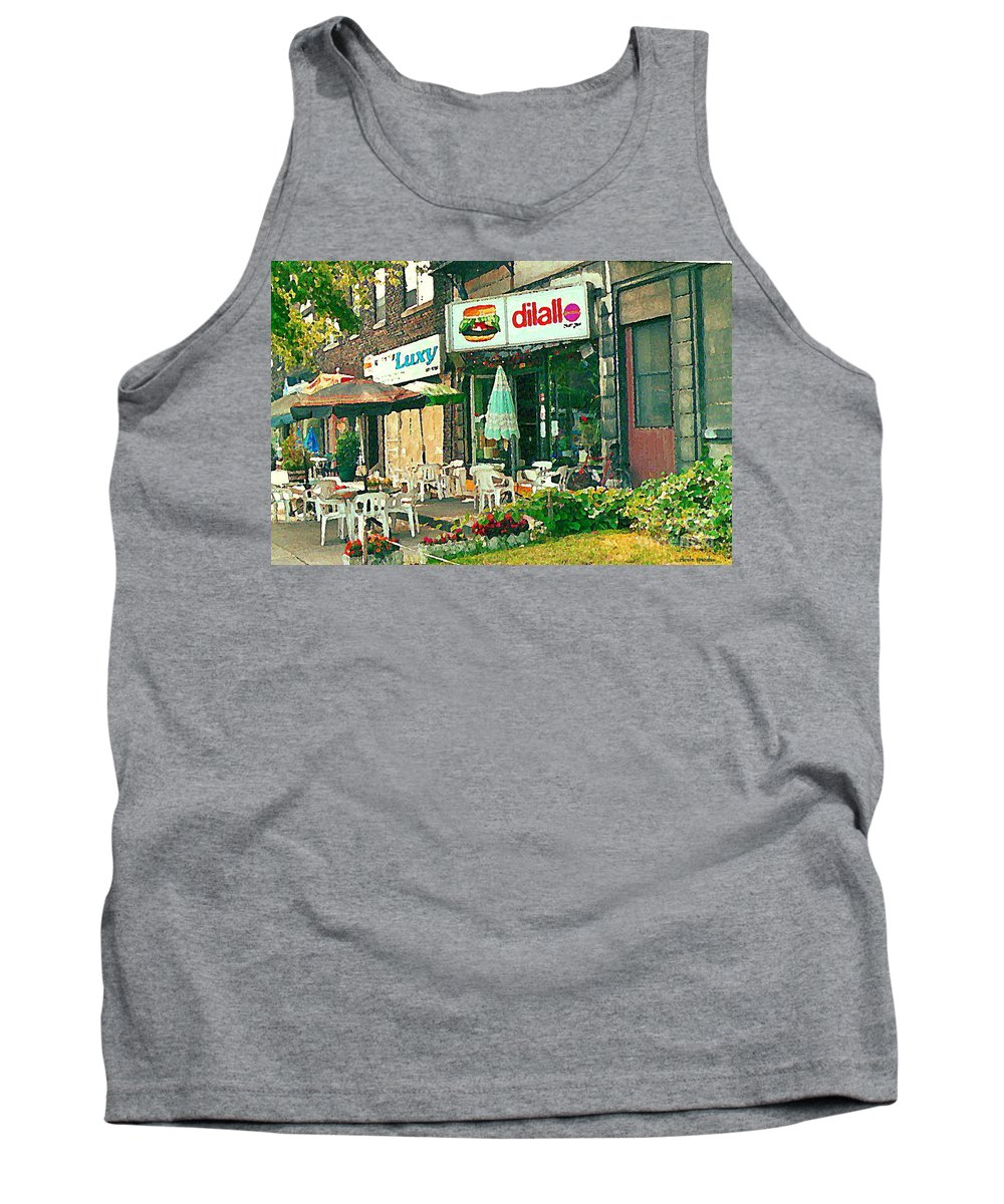 Dilallo Tank Top featuring the painting Dilallo Burger Diner Paintings Originalclassic Vintage Burger Joint St Henri St Catherine Cityscene by Carole Spandau