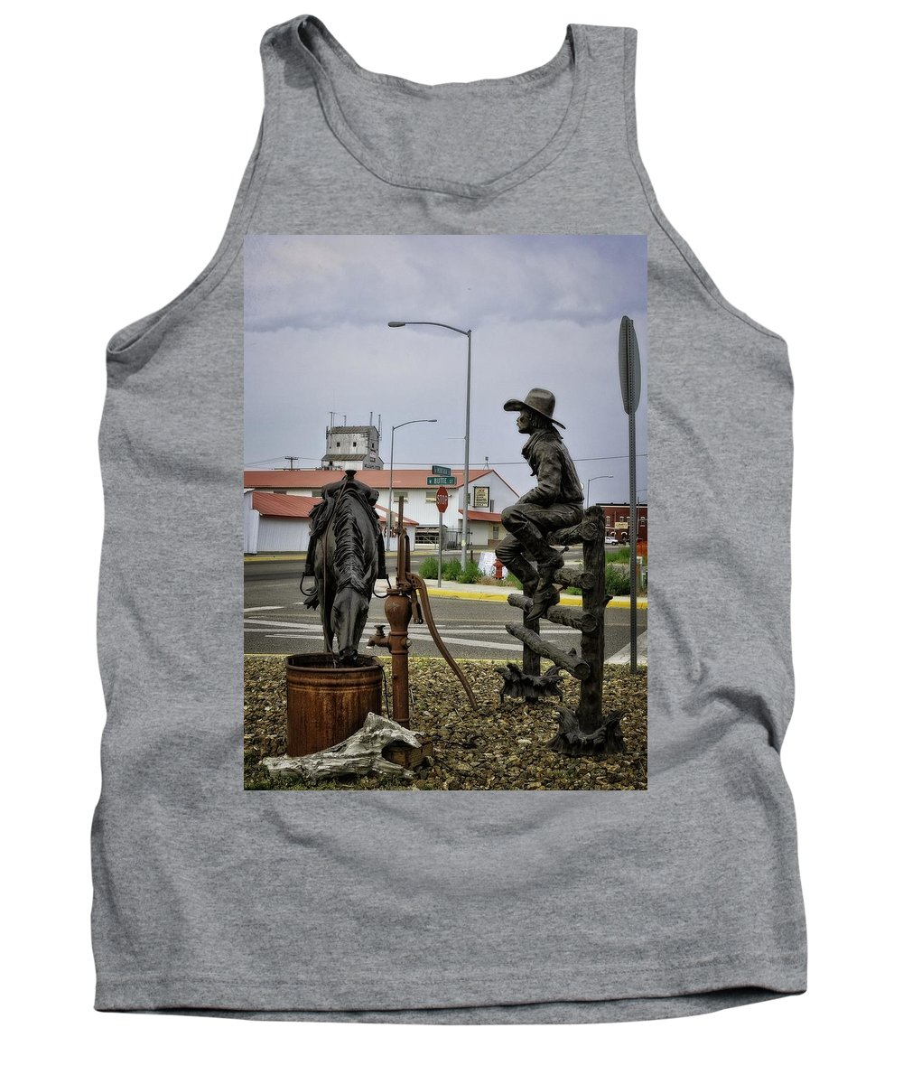Dillon Tank Top featuring the photograph Dillon Montana Cowboy by Image Takers Photography LLC - Laura Morgan