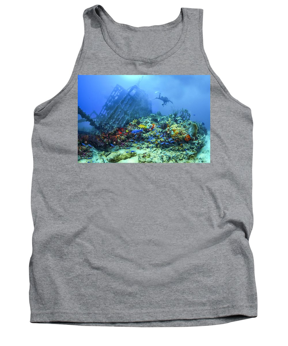 Boats Tank Top featuring the photograph Diver At The Wreck by Debra and Dave Vanderlaan