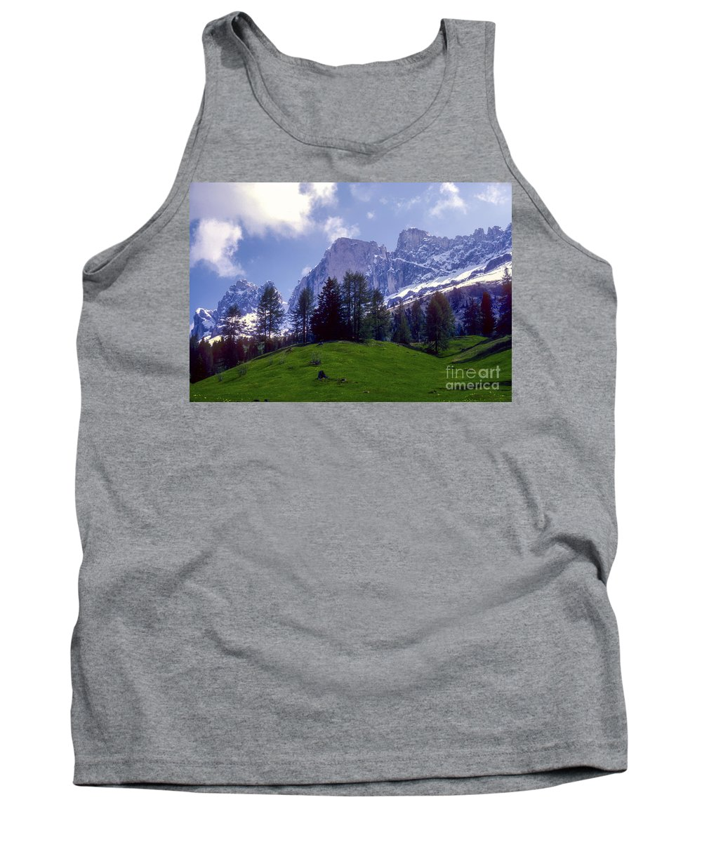 Dolomite Mountain Mountains Peaks Peak Hillside Hillsides Tree Trees Snow Cloud Clouds Landscape Landscapes South Tyrol Tyrolean Alps Italy Tank Top featuring the photograph Dolomites by Bob Phillips