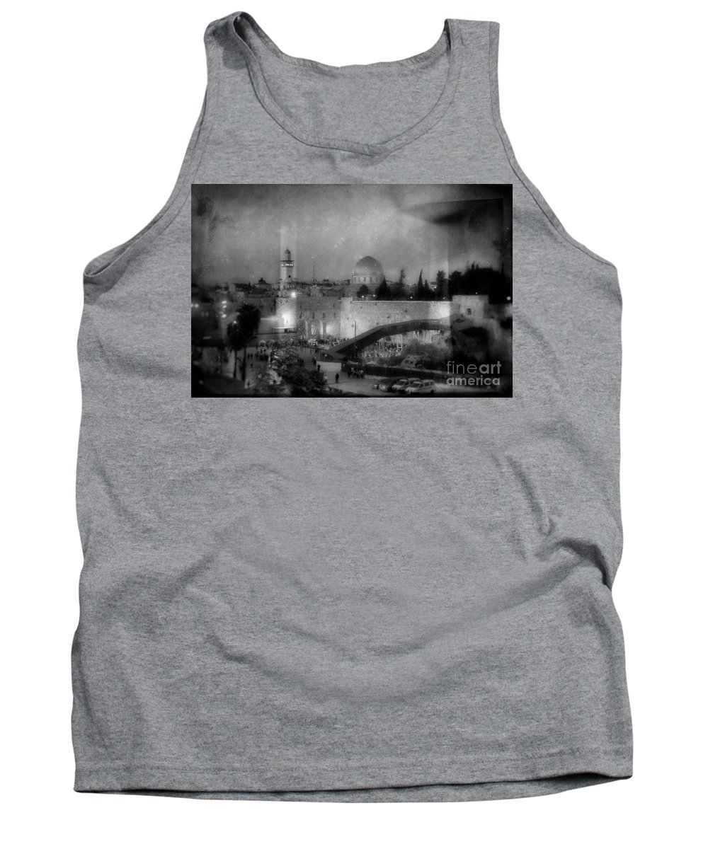 Western Wall Tank Top featuring the photograph Dome Of The Rock -- Black And White by Doc Braham