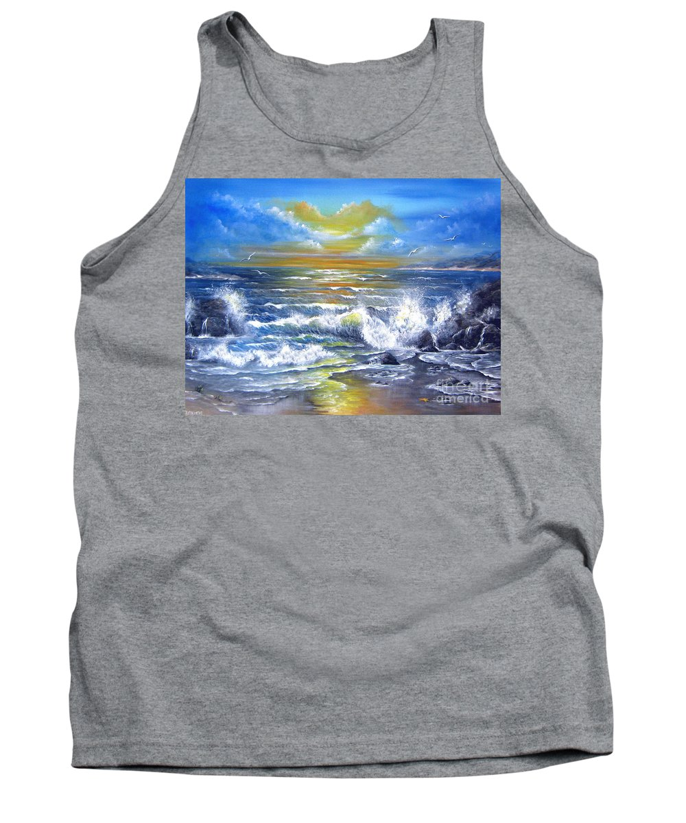 Sun Tank Top featuring the painting Down Came The Sun by Patrice Torrillo