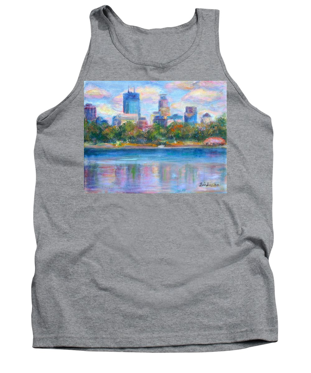 Quin Sweetman Tank Top featuring the painting Downtown Minneapolis Skyline From Lake Calhoun by Quin Sweetman