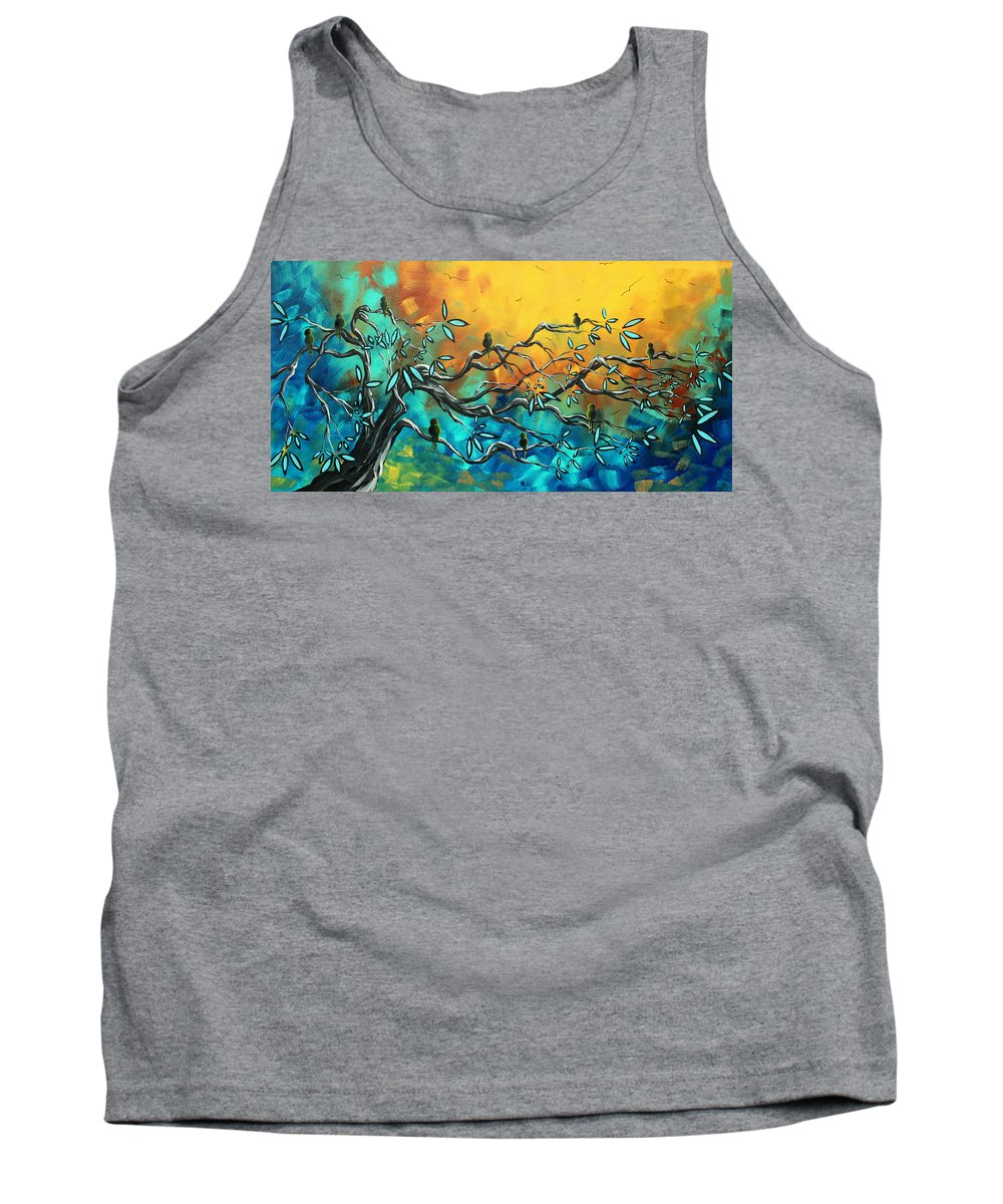 Art Tank Top featuring the painting Dream Watchers Original Abstract Bird Painting by Megan Duncanson