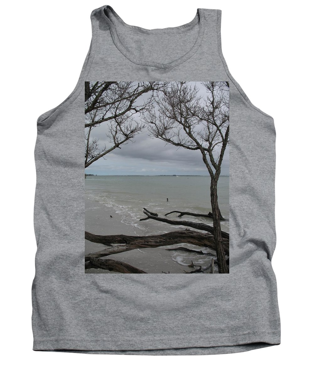 Beach Tank Top featuring the photograph Driftwood On The Beach by Christiane Schulze Art And Photography