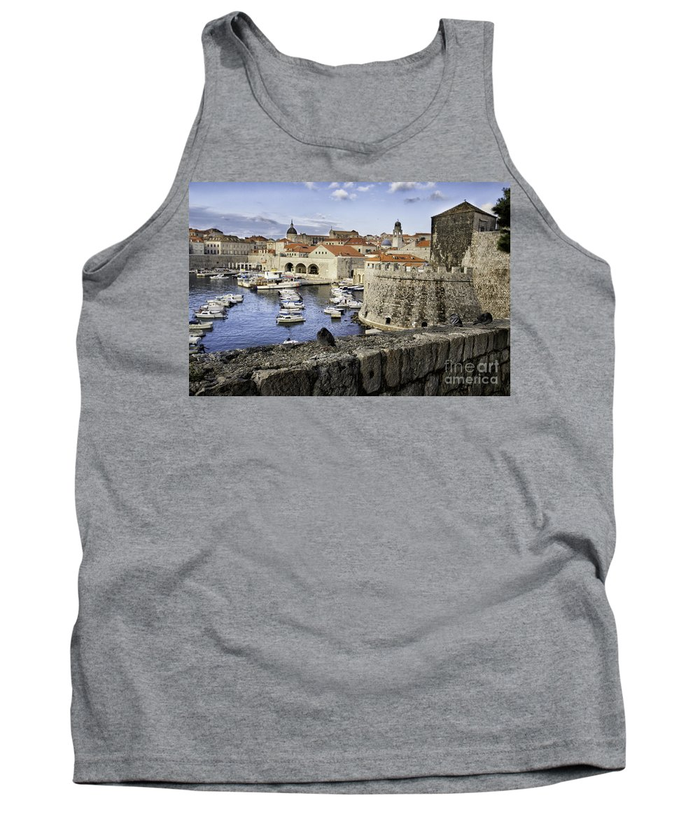 Croatia Tank Top featuring the photograph Dubrovnik Walls by Timothy Hacker