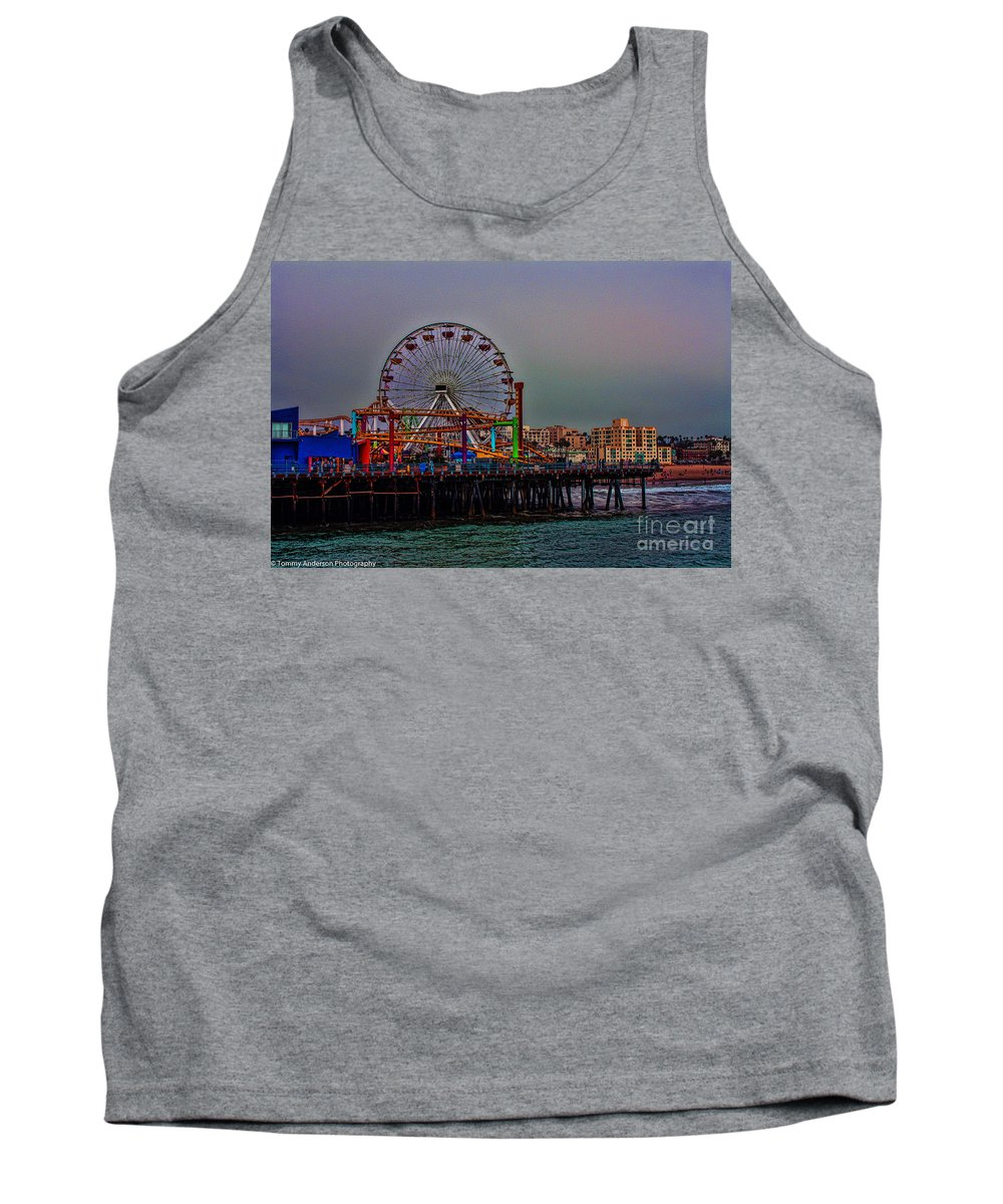 Santa Monica Tank Top featuring the photograph Dusk At The Santa Monica Pier by Tommy Anderson