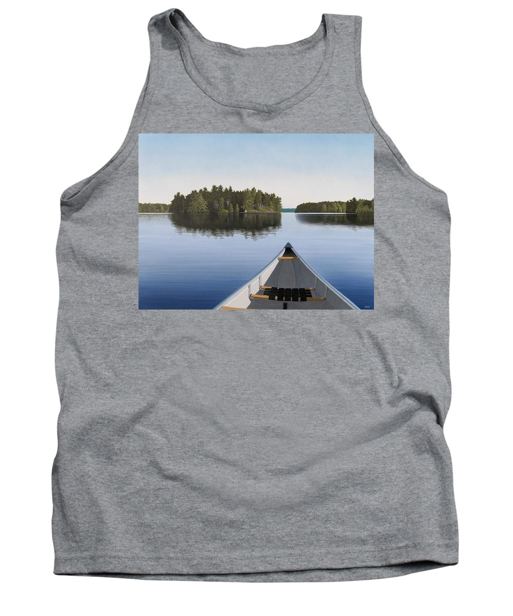 Canoe Tank Top featuring the painting Early Evening Paddle by Kenneth M Kirsch