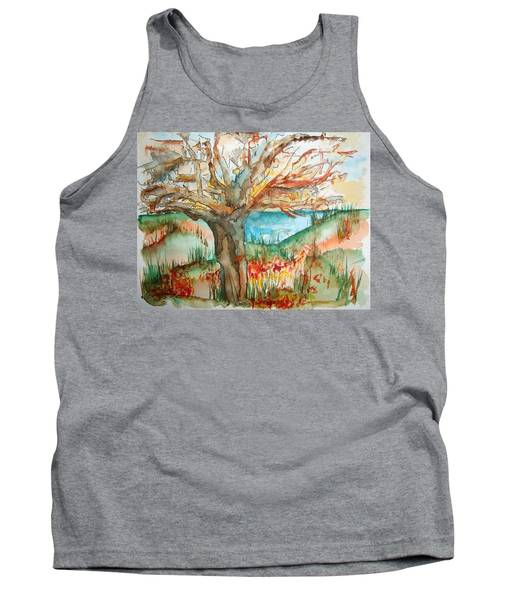 Tree Tank Top featuring the painting Early Winter Tree by Elaine Duras