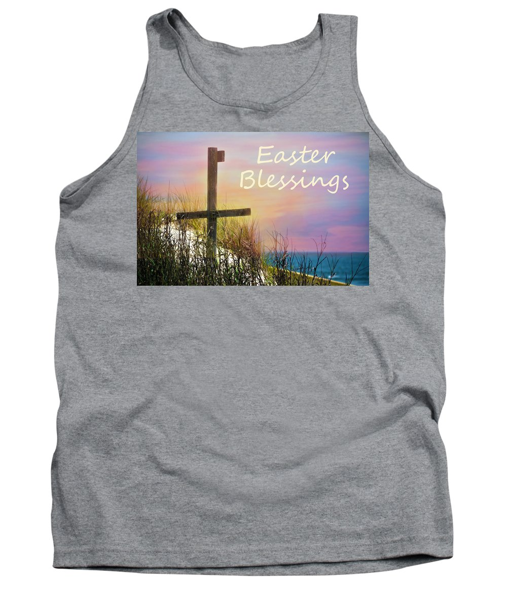 Cross Tank Top featuring the photograph Easter Blessings Cross by Sandi OReilly