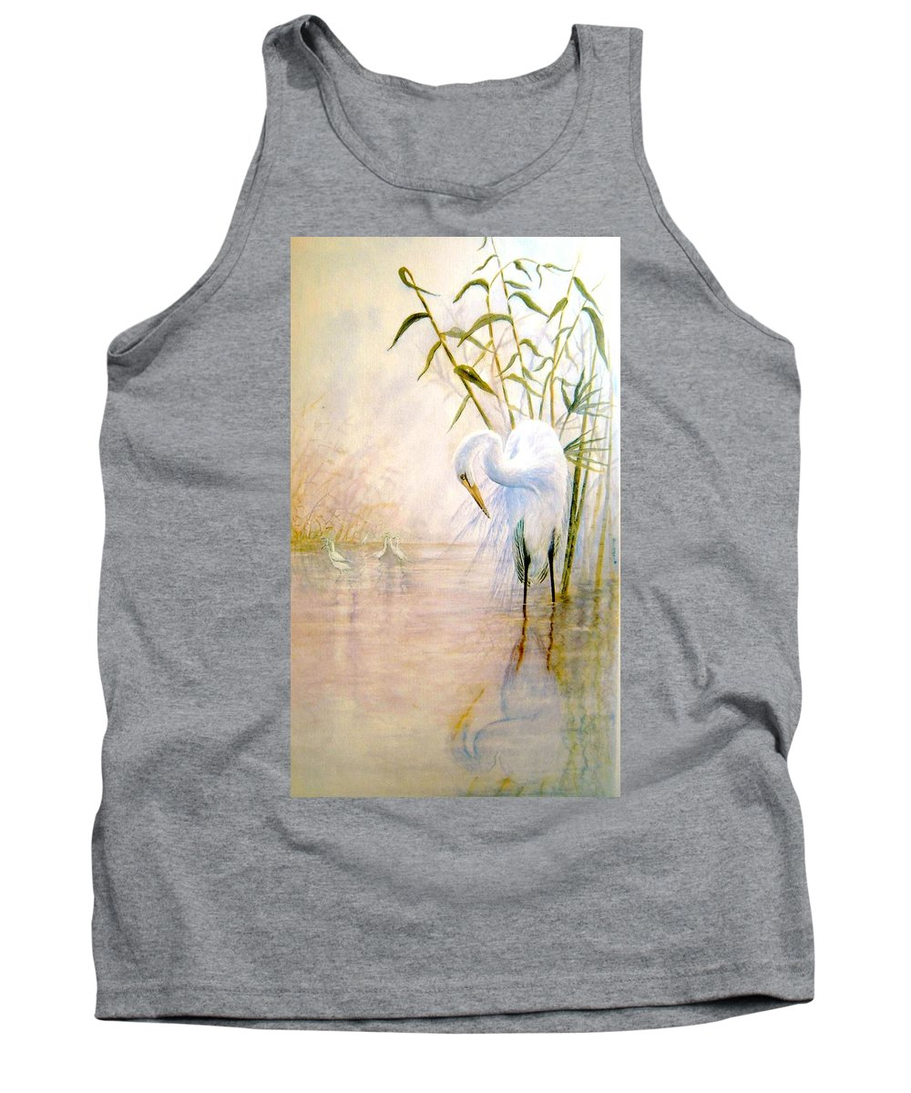 Eret; Bird; Low Country Tank Top featuring the painting Egret by Ben Kiger