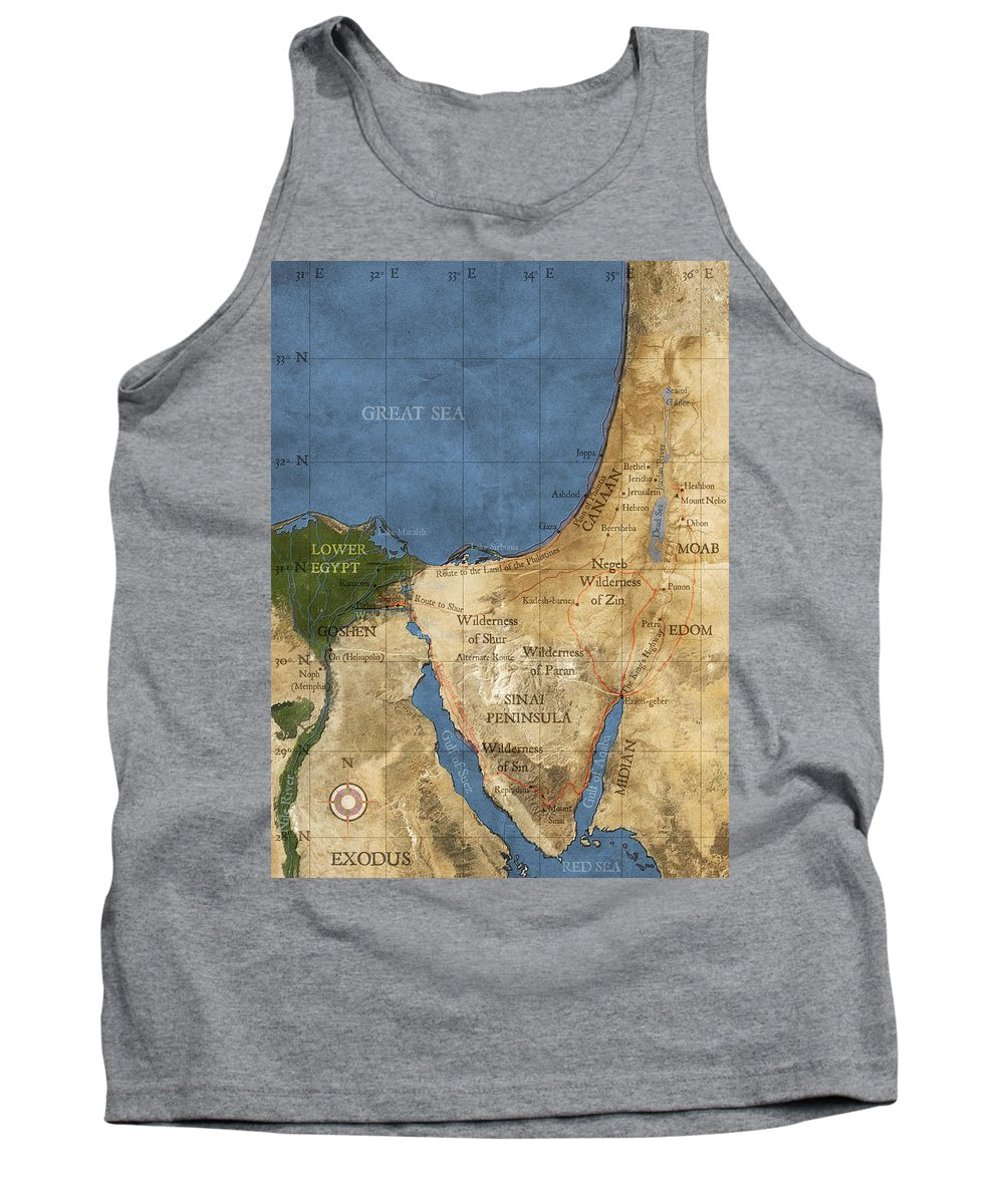 Exodus Tank Top featuring the digital art Egypt And The Holy Land by Carol and Mike Werner