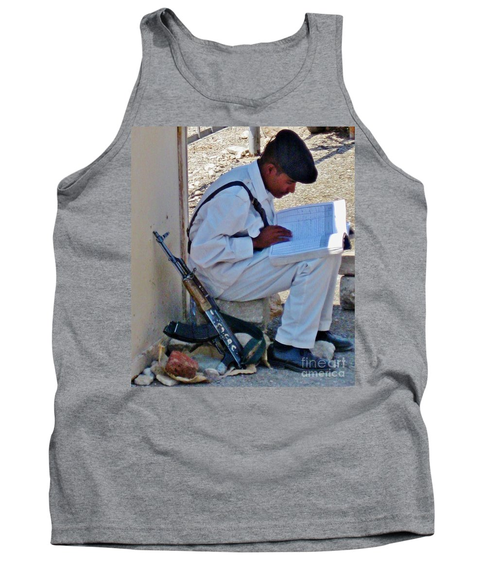 Egypt Tourist Security Tank Top featuring the photograph Egytian Security Relaxes Before The Spring by John Malone