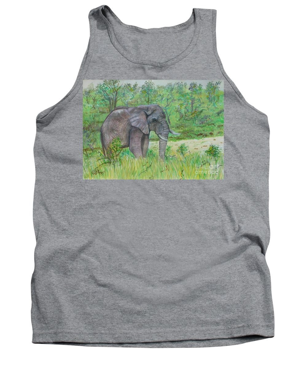 Elephants Tank Top featuring the painting Elephant At Kruger by Caroline Street