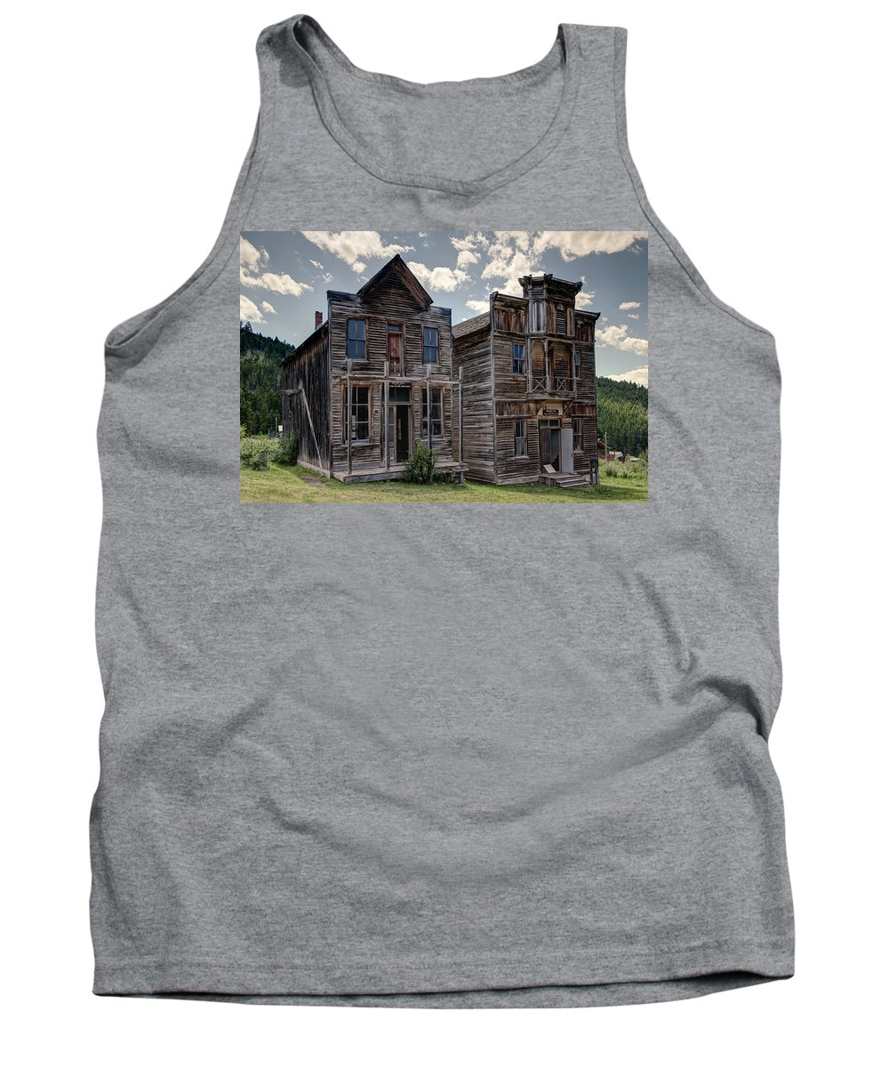 Elkhorn Tank Top featuring the photograph Elkhorn Ghost Town Public Halls - Montana by Daniel Hagerman